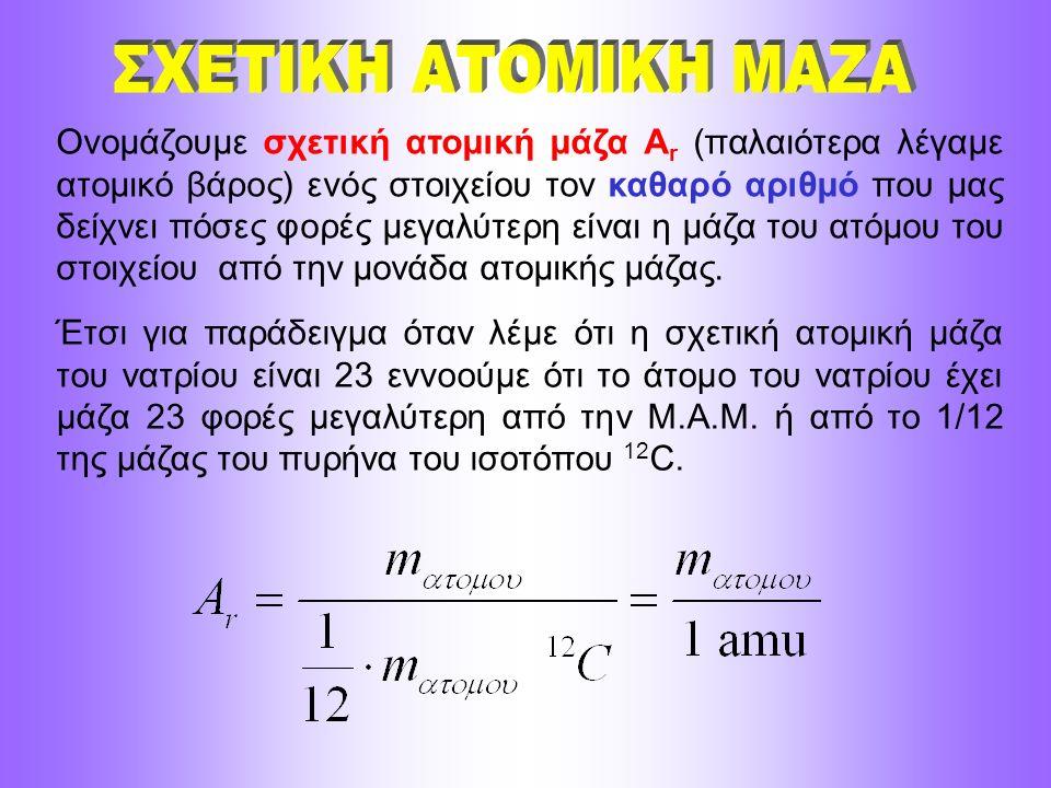 Ονομάζουμε σχετική ατομική μάζα A r (παλαιότερα λέγαμε ατομικό βάρος) ενός στοιχείου τον καθαρό αριθμό που μας δείχνει πόσες φορές μεγαλύτερη είναι η