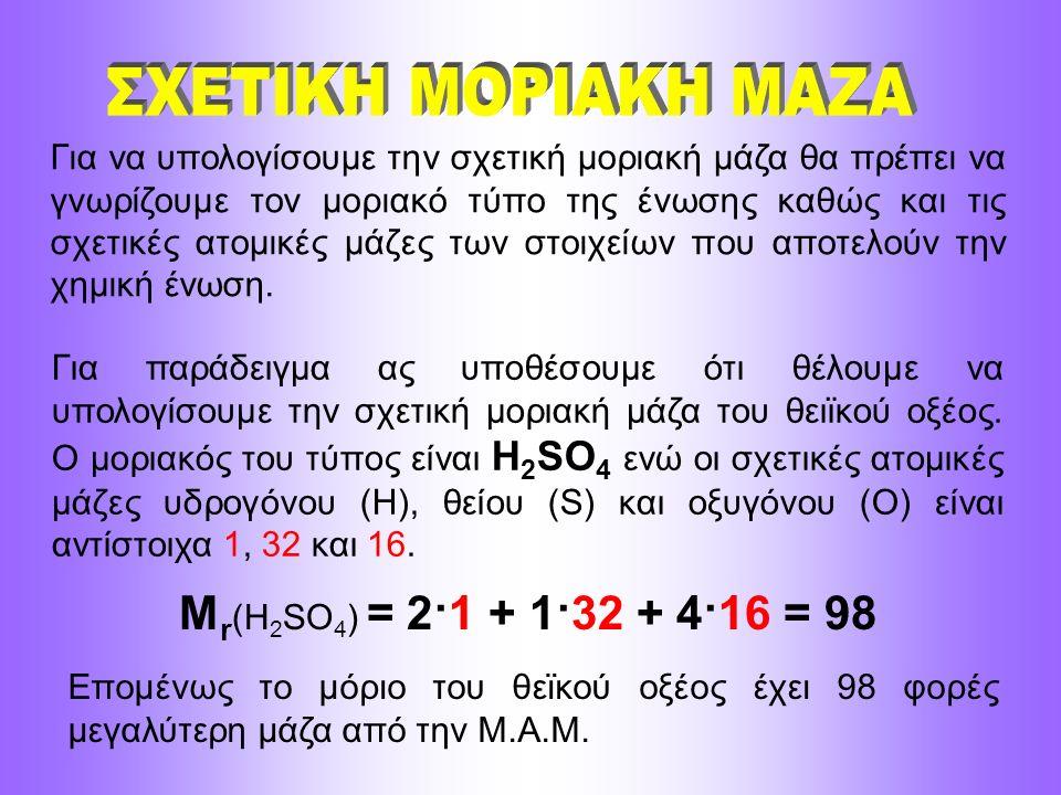 Για να υπολογίσουμε την σχετική μοριακή μάζα θα πρέπει να γνωρίζουμε τον μοριακό τύπο της ένωσης καθώς και τις σχετικές ατομικές μάζες των στοιχείων π