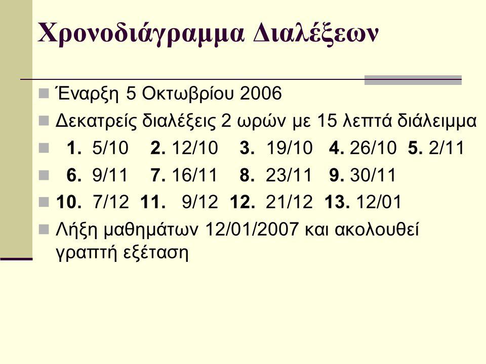 Χρονοδιάγραμμα Διαλέξεων Έναρξη 5 Οκτωβρίου 2006 Δεκατρείς διαλέξεις 2 ωρών με 15 λεπτά διάλειμμα 1. 5/10 2. 12/10 3. 19/10 4. 26/10 5. 2/11 6. 9/11 7