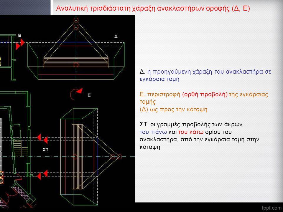 Αναλυτική τρισδιάστατη χάραξη ανακλαστήρων οροφής (Δ, Ε) Δ. η προηγούμενη χάραξη του ανακλαστήρα σε εγκάρσια τομή Ε. περιστροφή (ορθή προβολή) της εγκ