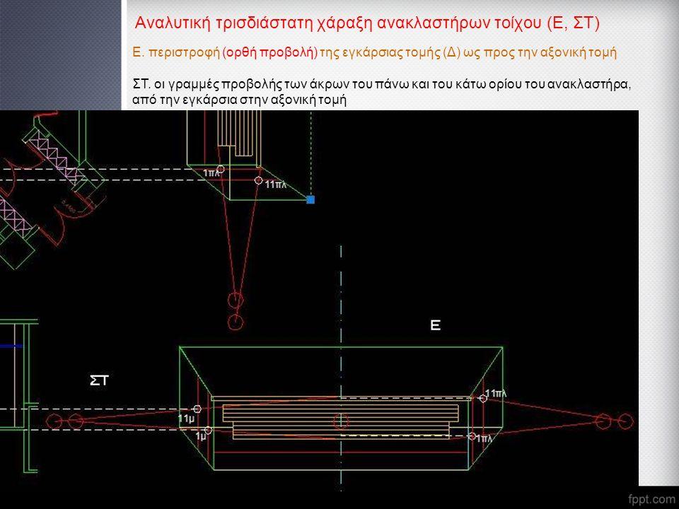 Αναλυτική τρισδιάστατη χάραξη ανακλαστήρων τοίχου (Ε, ΣΤ) Ε. περιστροφή (ορθή προβολή) της εγκάρσιας τομής (Δ) ως προς την αξονική τομή ΣΤ. οι γραμμές