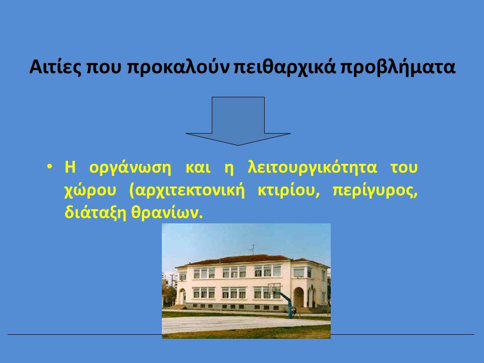 Αιτίες που προκαλούν πειθαρχικά προβλήματα Η οργάνωση και η λειτουργικότητα του χώρου (αρχιτεκτονική κτιρίου, περίγυρος, διάταξη θρανίων.