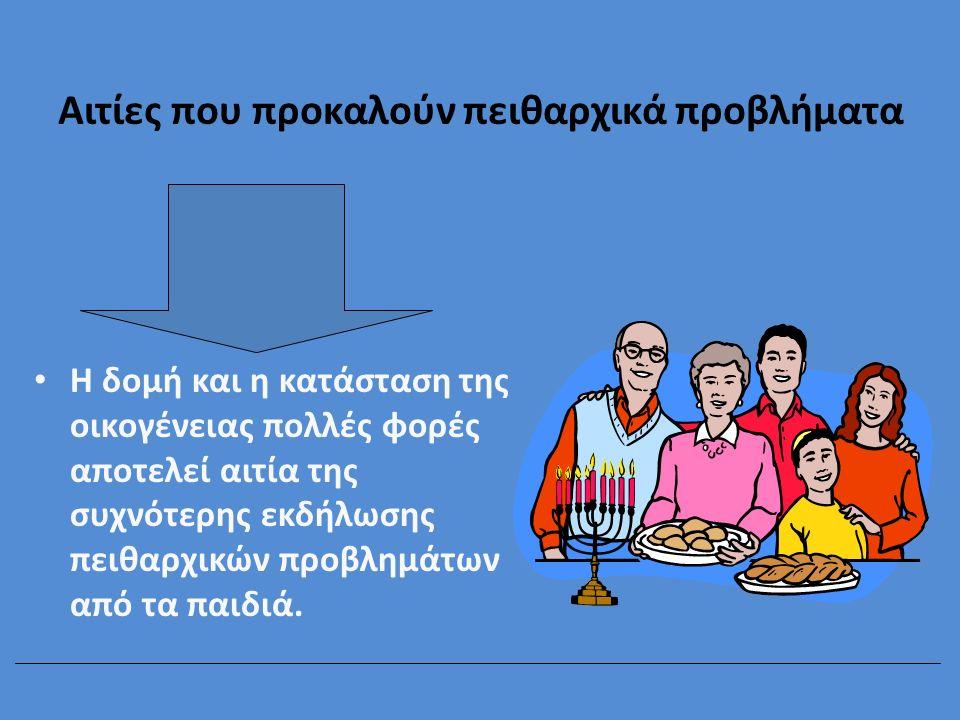 Αιτίες που προκαλούν πειθαρχικά προβλήματα Η δομή και η κατάσταση της οικογένειας πολλές φορές αποτελεί αιτία της συχνότερης εκδήλωσης πειθαρχικών προ