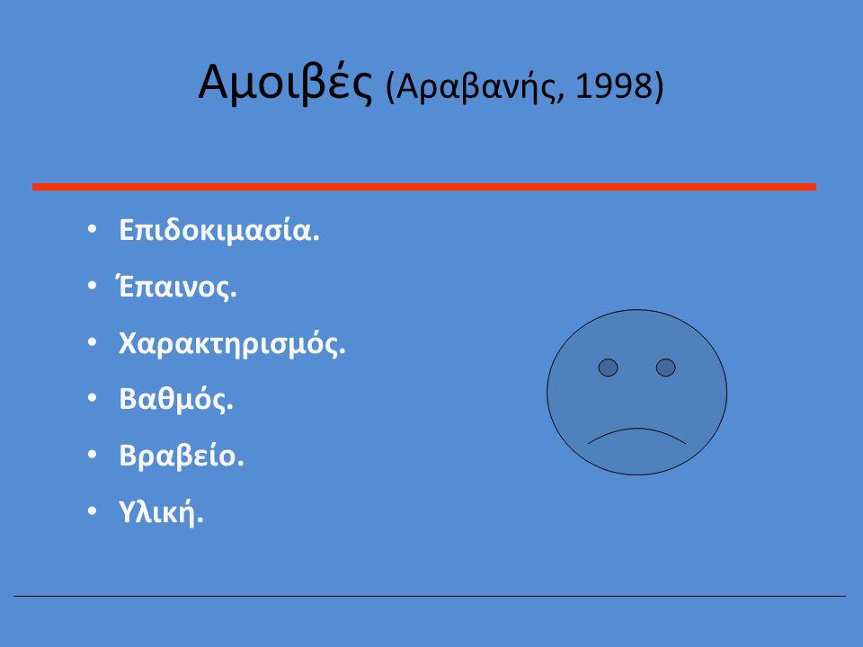 Αμοιβές (Αραβανής, 1998) Επιδοκιμασία. Έπαινος. Χαρακτηρισμός. Βαθμός. Βραβείο. Υλική.