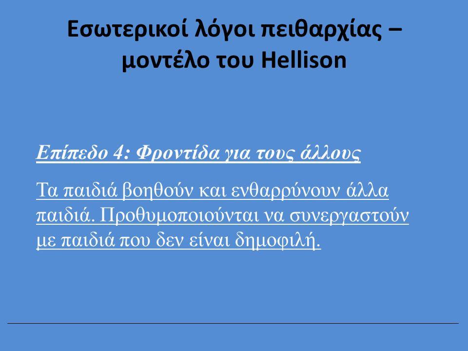 Εσωτερικοί λόγοι πειθαρχίας – μοντέλο του Hellison Επίπεδο 4: Φροντίδα για τους άλλους Τα παιδιά βοηθούν και ενθαρρύνουν άλλα παιδιά. Προθυμοποιούνται