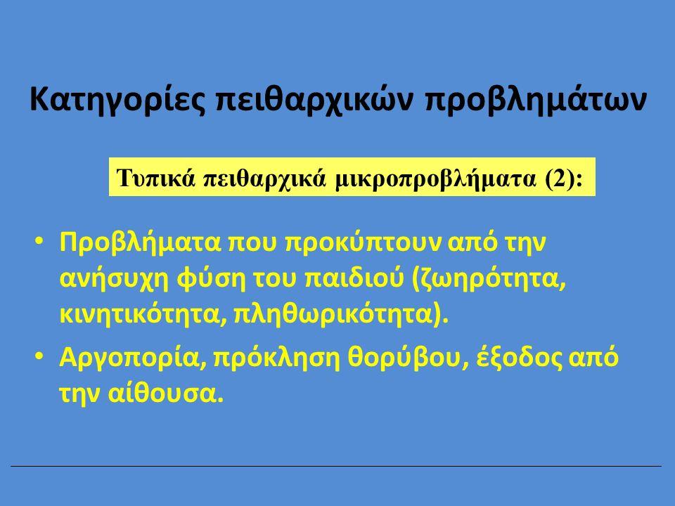 Αντιδράσεις του καθηγητή στα πειθαρχικά παραπτώματα των μαθητών Αντίδραση Πειθαρχικά προβλήματα σε σχέση με:Σύνολο Δραστη- ριότητα Καθηγητή Συμμα- θητή Απαλ- λαγμένοι n% Καμιά55720139529,4 Προτροπή12001134,0 Αυστηρό βλέμμα15100165,0 Απλή παρατήρηση4366126720,7 Απειλή με τιμωρία12007195,9 Έκκληση σε τάξη3861105517,0 Επίπληξη60103195,9 Τιμωρία1364113410,5 Εκτός μαθήματος110351,5 Σύνολο195274160323 Pieron & Emonts, 1988, πηγή: Pieron, 1988, p.