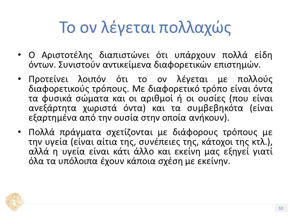 10 Τίτλος Ενότητας Το ον λέγεται πολλαχώς Ο Αριστοτέλης διαπιστώνει ότι υπάρχουν πολλά είδη όντων.
