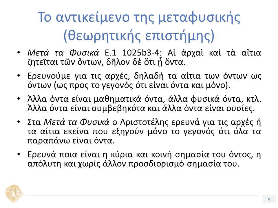 9 Τίτλος Ενότητας Το αντικείμενο της μεταφυσικής (θεωρητικής επιστήμης) Μετά τα Φυσικά Ε.1 1025b3-4: Αἱ ἀρχαὶ καὶ τὰ αἴτια ζητεῖται τῶν ὄντων, δῆλον δὲ ὅτι ᾗ ὄντα.