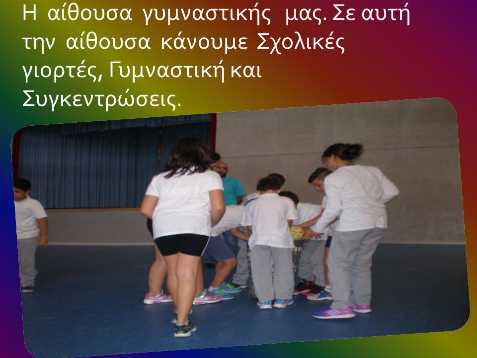Η αίθουσα γυμναστικής μας. Σε αυτή την αίθουσα κάνουμε Σχολικές γιορτές, Γυμναστική και Συγκεντρώσεις.