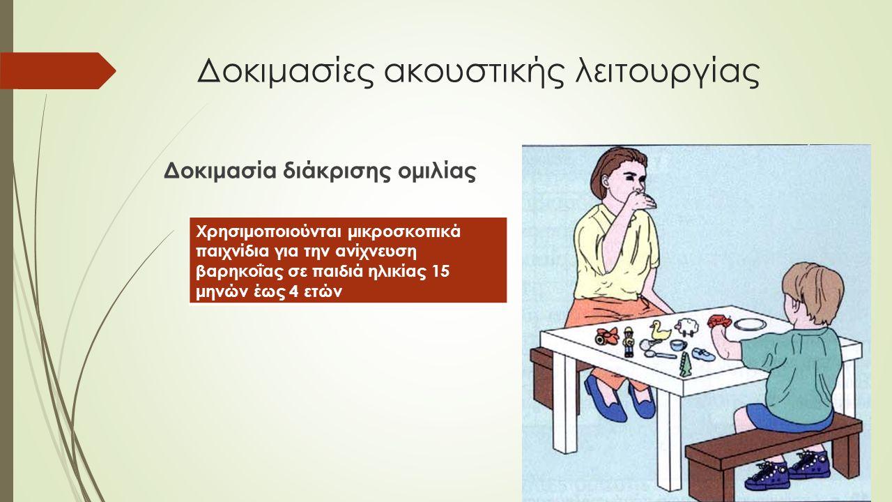 Δοκιμασία διάκρισης ομιλίας Χρησιμοποιούνται μικροσκοπικά παιχνίδια για την ανίχνευση βαρηκοΐας σε παιδιά ηλικίας 15 μηνών έως 4 ετών
