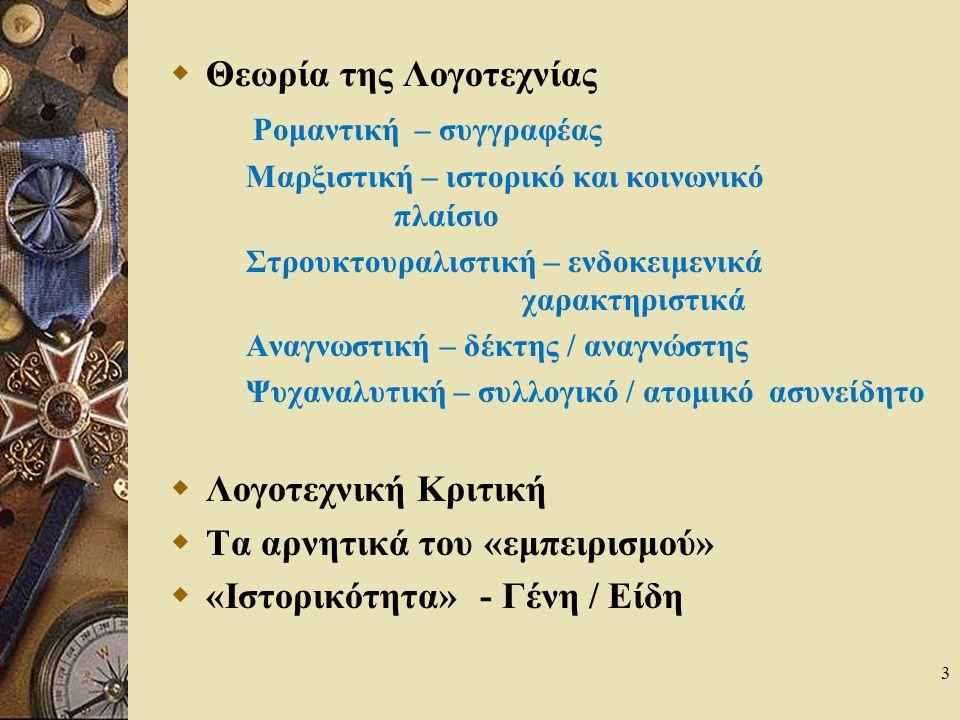 3  Θεωρία της Λογοτεχνίας Ρομαντική – συγγραφέας Μαρξιστική – ιστορικό και κοινωνικό πλαίσιο Στρουκτουραλιστική – ενδοκειμενικά χαρακτηριστικά Αναγνωστική – δέκτης / αναγνώστης Ψυχαναλυτική – συλλογικό / ατομικό ασυνείδητο  Λογοτεχνική Κριτική  Τα αρνητικά του «εμπειρισμού»  «Ιστορικότητα» - Γένη / Είδη