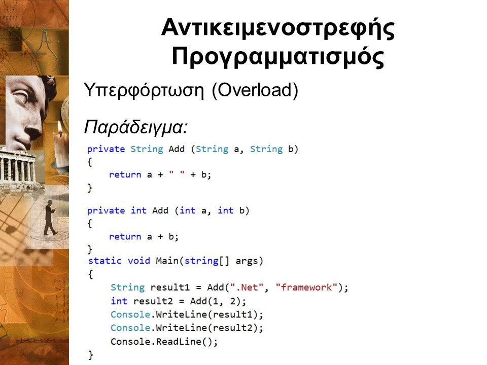 Αντικειμενοστρεφής Προγραμματισμός Υπερφόρτωση (Overload) Παράδειγμα: