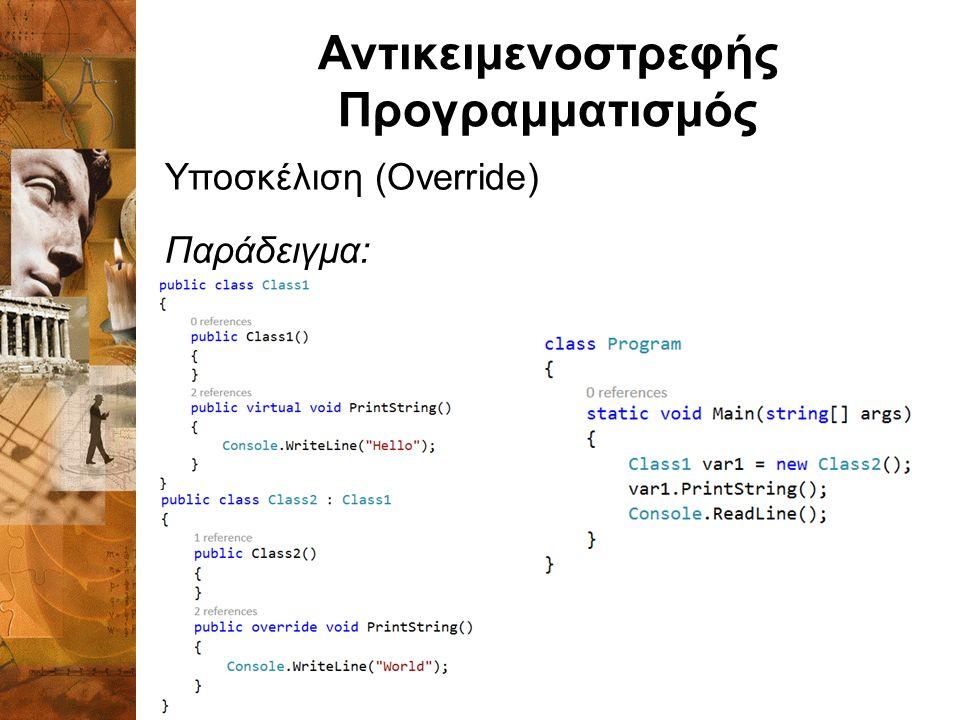 Αντικειμενοστρεφής Προγραμματισμός Υποσκέλιση (Override) Παράδειγμα: