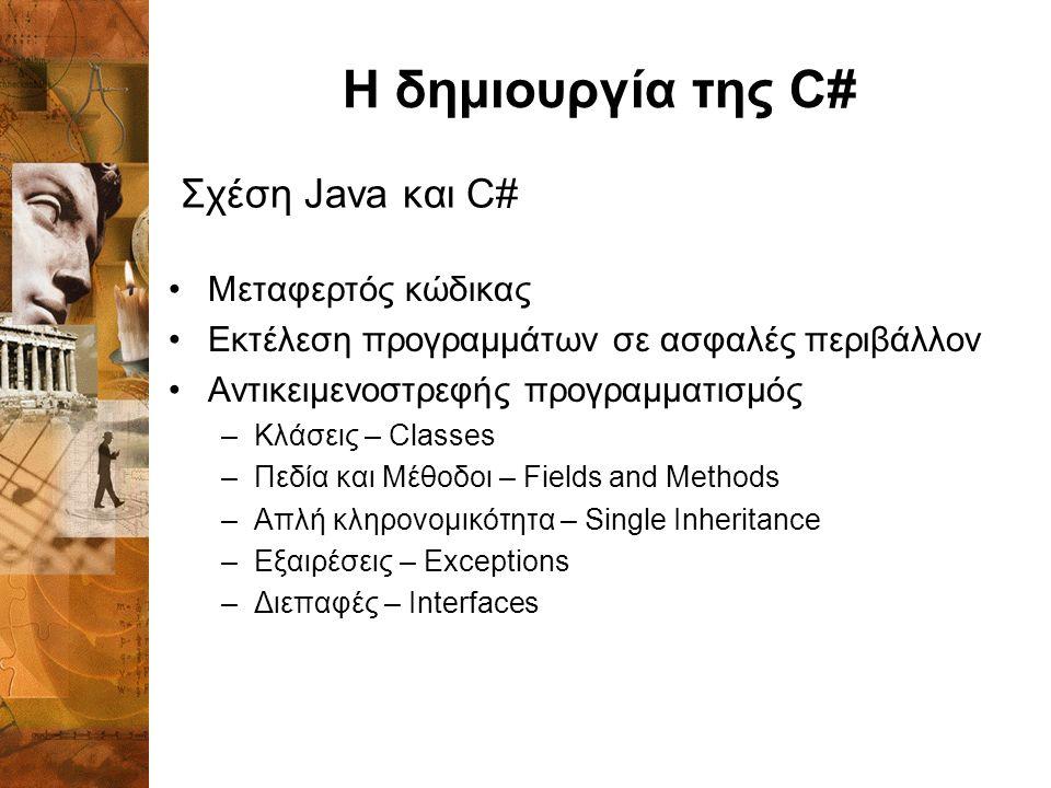 Η δημιουργία της C# Μεταφερτός κώδικας Εκτέλεση προγραμμάτων σε ασφαλές περιβάλλον Αντικειμενοστρεφής προγραμματισμός –Κλάσεις – Classes –Πεδία και Μέθοδοι – Fields and Methods –Απλή κληρονομικότητα – Single Inheritance –Εξαιρέσεις – Exceptions –Διεπαφές – Interfaces Σχέση Java και C#