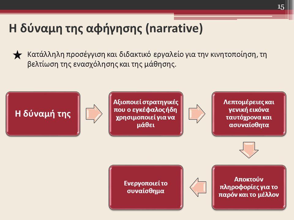 15 Η δύναμη της αφήγησης (narrative) Κατάλληλη προσέγγιση και διδακτικό εργαλείο για την κινητοποίηση, τη βελτίωση της ενασχόλησης και της μάθησης. Η