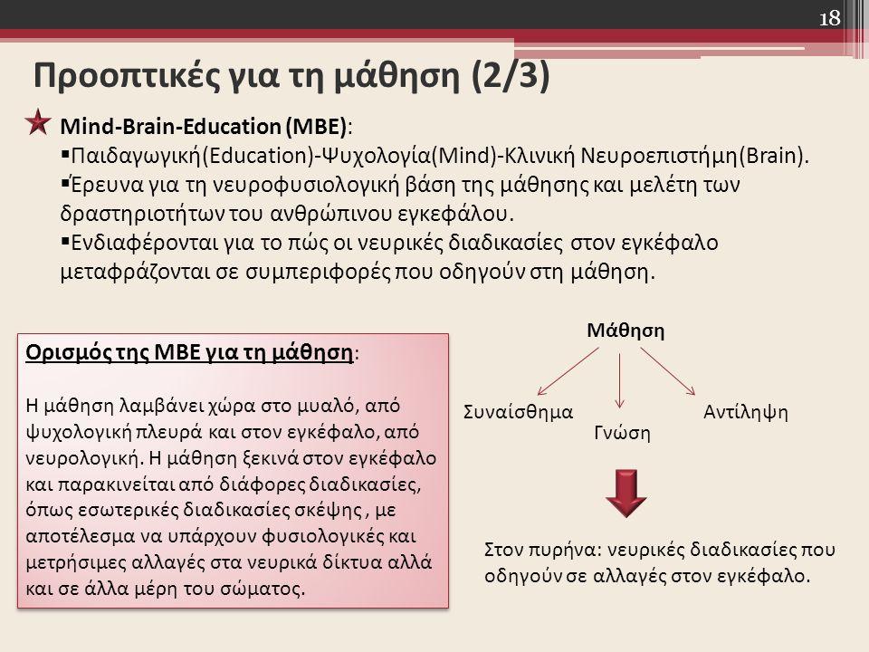 18 Προοπτικές για τη μάθηση (2/3) Mind-Brain-Education (MBE):  Παιδαγωγική(Education)-Ψυχολογία(Mind)-Κλινική Νευροεπιστήμη(Brain).  Έρευνα για τη ν