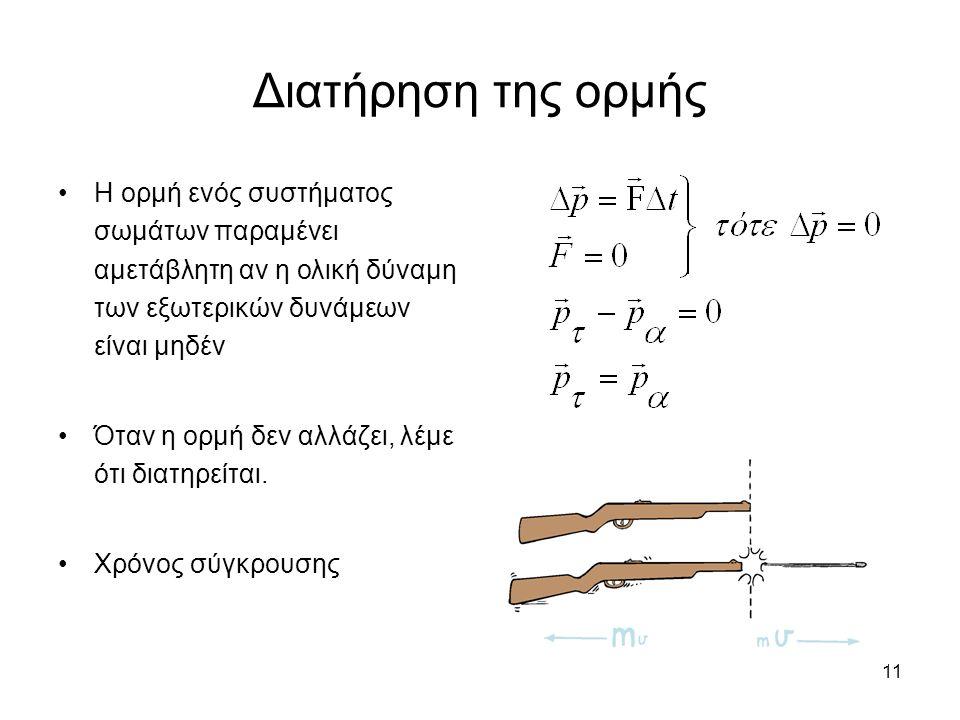 11 Διατήρηση της ορμής Η ορμή ενός συστήματος σωμάτων παραμένει αμετάβλητη αν η ολική δύναμη των εξωτερικών δυνάμεων είναι μηδέν Όταν η ορμή δεν αλλάζει, λέμε ότι διατηρείται.