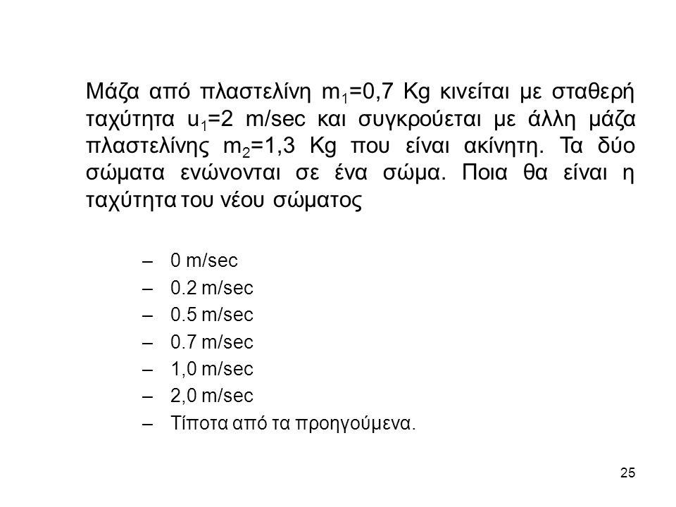 25 Μάζα από πλαστελίνη m 1 =0,7 Kg κινείται με σταθερή ταχύτητα u 1 =2 m/sec και συγκρούεται με άλλη μάζα πλαστελίνης m 2 =1,3 Kg που είναι ακίνητη.