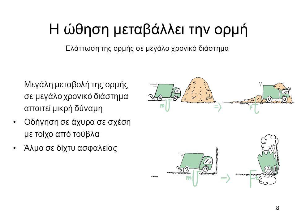 8 Η ώθηση μεταβάλλει την ορμή Μεγάλη μεταβολή της ορμής σε μεγάλο χρονικό διάστημα απαιτεί μικρή δύναμη Οδήγηση σε άχυρα σε σχέση με τοίχο από τούβλα Άλμα σε δίχτυ ασφαλείας Ελάττωση της ορμής σε μεγάλο χρονικό διάστημα