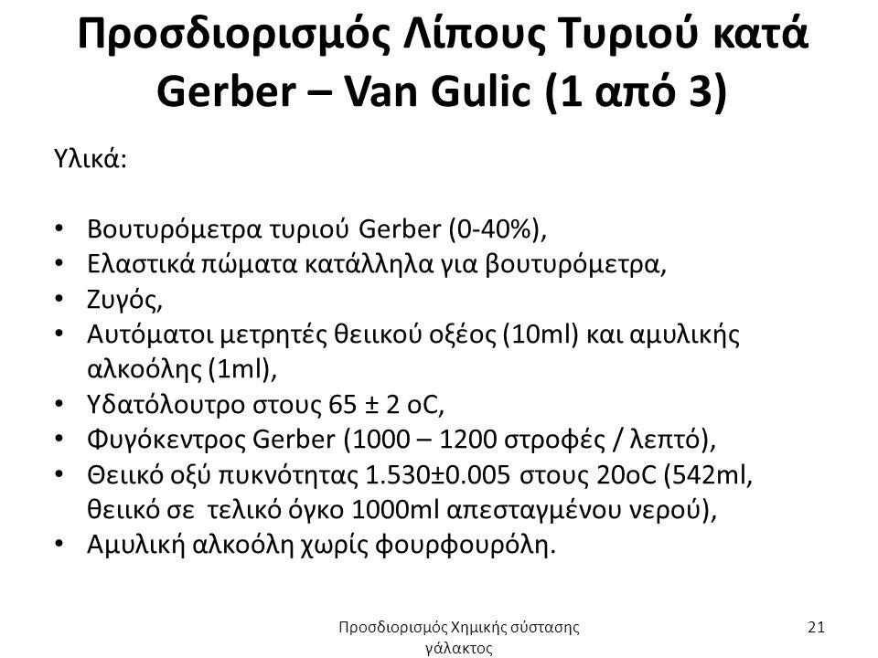 Προσδιορισμός Λίπους Τυριού κατά Gerber – Van Gulic (1 από 3) Υλικά: Βουτυρόμετρα τυριού Gerber (0-40%), Ελαστικά πώματα κατάλληλα για βουτυρόμετρα, Ζυγός, Αυτόματοι μετρητές θειικού οξέος (10ml) και αμυλικής αλκοόλης (1ml), Υδατόλουτρο στους 65 ± 2 oC, Φυγόκεντρος Gerber (1000 – 1200 στροφές / λεπτό), Θειικό οξύ πυκνότητας 1.530±0.005 στους 20οC (542ml, θειικό σε τελικό όγκο 1000ml απεσταγμένου νερού), Αμυλική αλκοόλη χωρίς φουρφουρόλη.