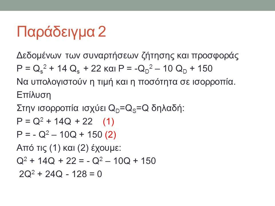 Παράδειγμα 2 Δεδομένων των συναρτήσεων ζήτησης και προσφοράς P = Q s 2 + 14 Q s + 22 και P = -Q D 2 – 10 Q D + 150 Να υπολογιστούν η τιμή και η ποσότητα σε ισορροπία.