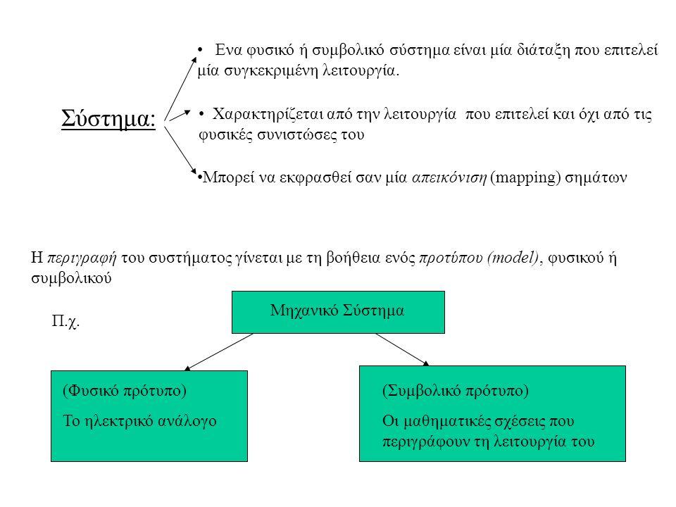 Ενα φυσικό ή συμβολικό σύστημα είναι μία διάταξη που επιτελεί μία συγκεκριμένη λειτουργία.