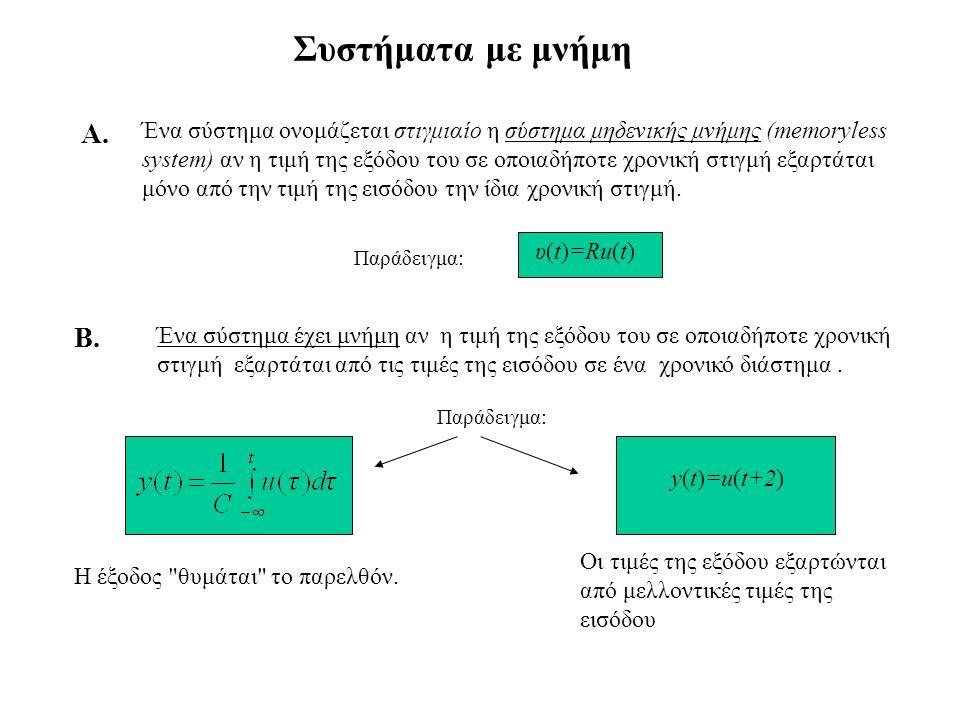 Συστήματα αιτιατά Ένα σύστημα λέγεται αιτιατό όταν υπάρχει μία απεικόνιση S : U  Y τέτοια ώστε y(τ) = S[u(- ,τ)]γιά κάθε είσοδο και κάθε τ  Τ.
