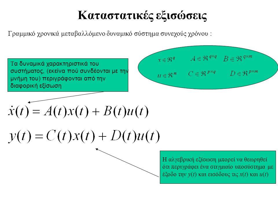 Kαταστατικές εξισώσεις Γραμμικό χρονικά μεταβαλλόμενο δυναμικό σύστημα συνεχούς χρόνου : Τ α δυναμικά χαρακτηριστικά του συστήματος, (εκείνα πού συνδέονται με την μνήμη του) περιγράφονται από την διαφορική εξίσωση Η αλγεβρική εξίσωση μπορεί να θεωρηθεί ότι περιγράφει ένα στιγμιαίο υποσύστημα με έξοδο την y(t) και εισόδους τις x(t) και u(t)
