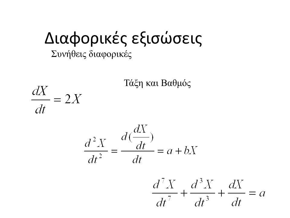 Διαφορικές εξισώσεις Συνήθεις διαφορικές Τάξη και Βαθμός