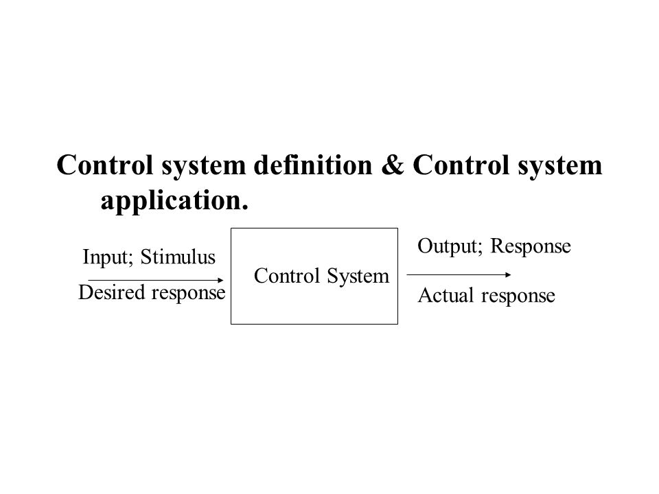 Control system definition & Control system application.