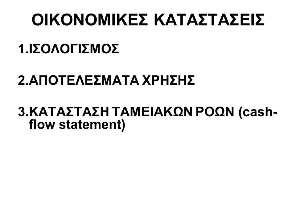 ΟΙΚΟΝΟΜΙΚΕΣ ΚΑΤΑΣΤΑΣΕΙΣ Οι οικονομικές καταστάσεις διακρίνονται στις παρακάτω κατηγορίες: - Η κατάσταση του ισολογισμού τέλους χρήσης.