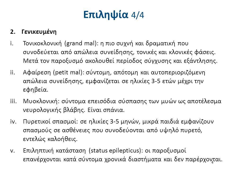 Επιληψία 4/4 2.Γενικευμένη i.Τονικοκλονική (grand mal): η πιο συχνή και δραματική που συνοδεύεται από απώλεια συνείδησης, τονικές και κλονικές φάσεις.