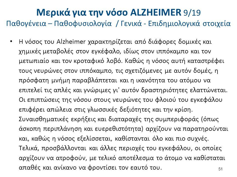 Η νόσος του Alzheimer χαρακτηρίζεται από διάφορες δομικές και χημικές μεταβολές στον εγκέφαλο, ιδίως στον ιππόκαμπο και τον μετωπιαίο και τον κροταφικό λοβό.