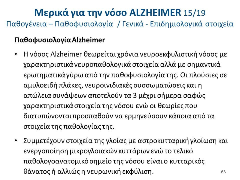 Παθοφυσιολογία Alzheimer Η νόσος Alzheimer θεωρείται χρόνια νευροεκφυλιστική νόσος με χαρακτηριστικά νευροπαθολογικά στοιχεία αλλά με σημαντικά ερωτηματικά γύρω από την παθοφυσιολογία της.