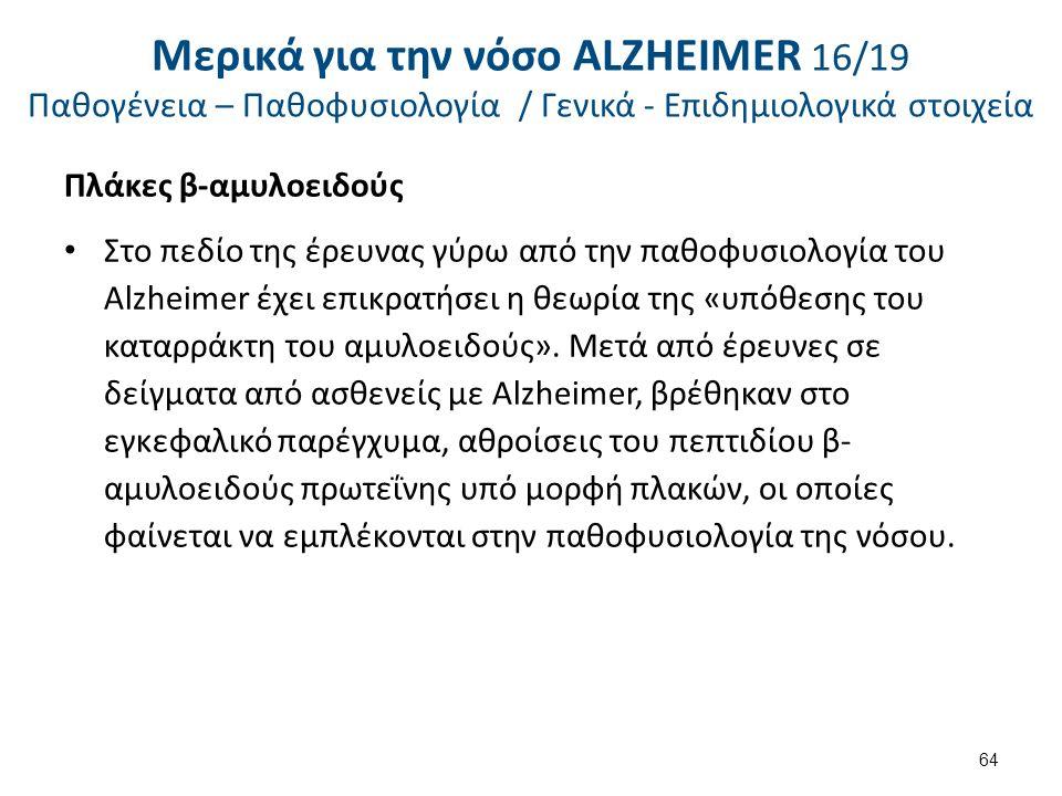Πλάκες β-αμυλοειδούς Στο πεδίο της έρευνας γύρω από την παθοφυσιολογία του Alzheimer έχει επικρατήσει η θεωρία της «υπόθεσης του καταρράκτη του αμυλοειδούς».