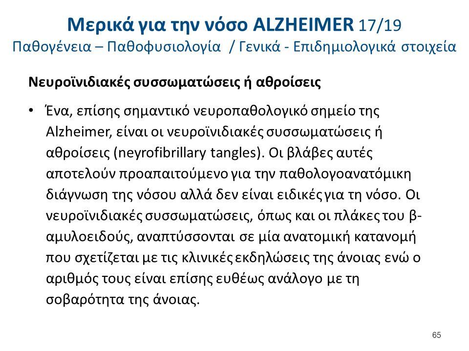 Νευροϊνιδιακές συσσωματώσεις ή αθροίσεις Ένα, επίσης σημαντικό νευροπαθολογικό σημείο της Alzheimer, είναι οι νευροϊνιδιακές συσσωματώσεις ή αθροίσεις (neyrofibrillary tangles).