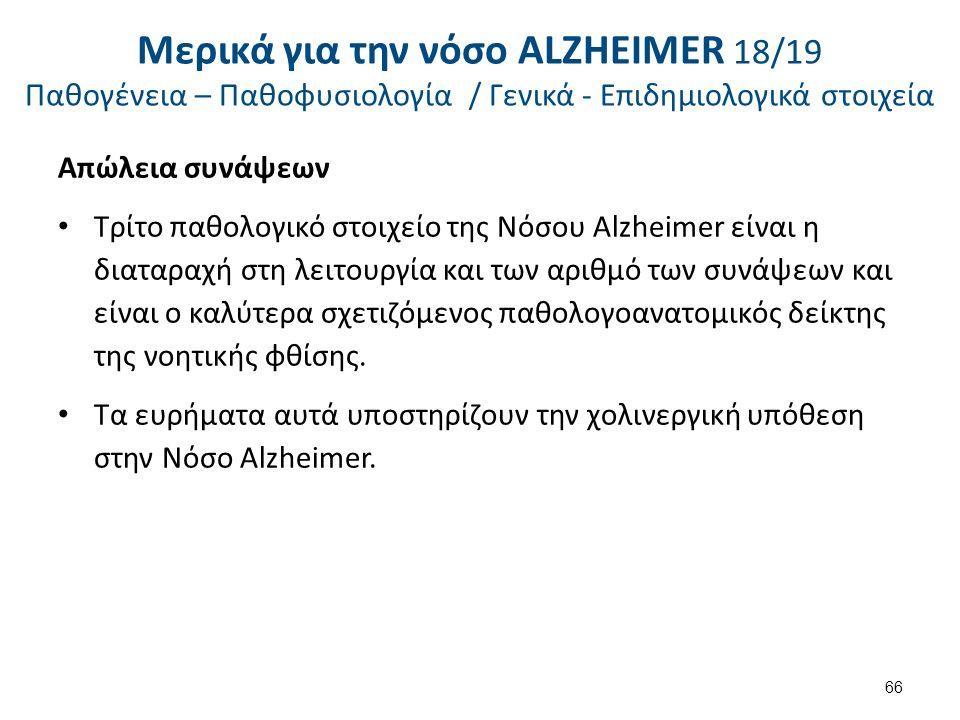 Απώλεια συνάψεων Τρίτο παθολογικό στοιχείο της Νόσου Alzheimer είναι η διαταραχή στη λειτουργία και των αριθμό των συνάψεων και είναι ο καλύτερα σχετιζόμενος παθολογοανατομικός δείκτης της νοητικής φθίσης.