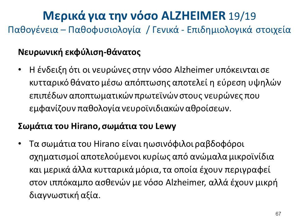Νευρωνική εκφύλιση-θάνατος Η ένδειξη ότι οι νευρώνες στην νόσο Alzheimer υπόκεινται σε κυτταρικό θάνατο μέσω απόπτωσης αποτελεί η εύρεση υψηλών επιπέδων αποπτωματικών πρωτεϊνών στους νευρώνες που εμφανίζουν παθολογία νευροϊνιδιακών αθροίσεων.