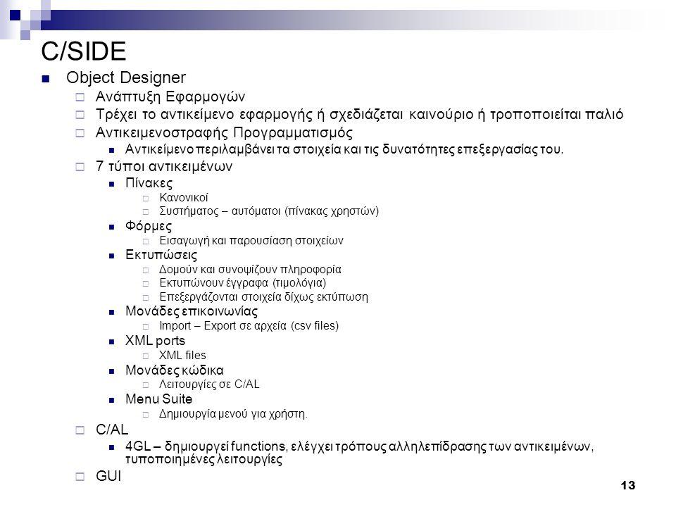 13 C/SIDE Object Designer  Ανάπτυξη Εφαρμογών  Τρέχει το αντικείμενο εφαρμογής ή σχεδιάζεται καινούριο ή τροποποιείται παλιό  Αντικειμενοστραφής Προγραμματισμός Αντικείμενο περιλαμβάνει τα στοιχεία και τις δυνατότητες επεξεργασίας του.