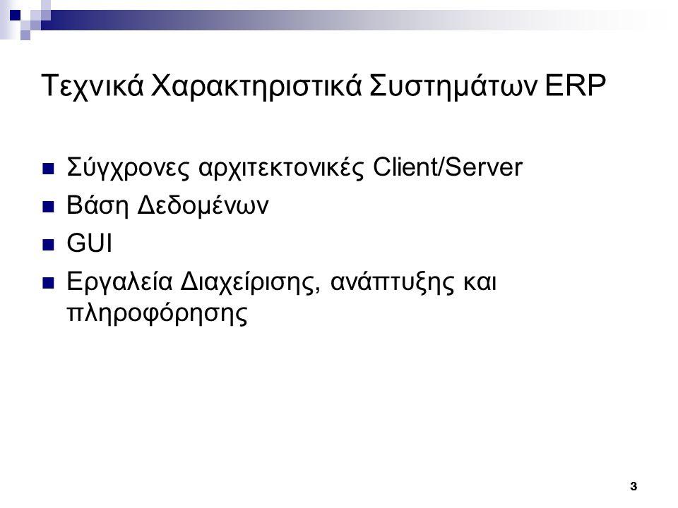 3 Τεχνικά Χαρακτηριστικά Συστημάτων ERP Σύγχρονες αρχιτεκτονικές Client/Server Βάση Δεδομένων GUI Εργαλεία Διαχείρισης, ανάπτυξης και πληροφόρησης