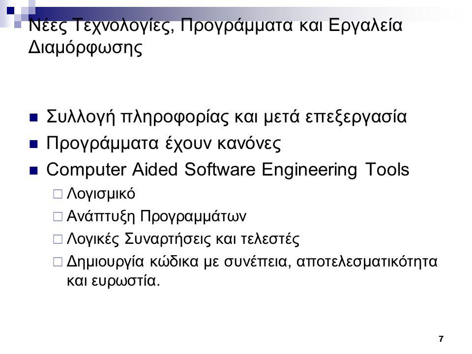 7 Νέες Τεχνολογίες, Προγράμματα και Εργαλεία Διαμόρφωσης Συλλογή πληροφορίας και μετά επεξεργασία Προγράμματα έχουν κανόνες Computer Aided Software Engineering Tools  Λογισμικό  Ανάπτυξη Προγραμμάτων  Λογικές Συναρτήσεις και τελεστές  Δημιουργία κώδικα με συνέπεια, αποτελεσματικότητα και ευρωστία.