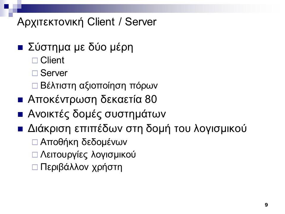 9 Αρχιτεκτονική Client / Server Σύστημα με δύο μέρη  Client  Server  Βέλτιστη αξιοποίηση πόρων Αποκέντρωση δεκαετία 80 Ανοικτές δομές συστημάτων Διάκριση επιπέδων στη δομή του λογισμικού  Αποθήκη δεδομένων  Λειτουργίες λογισμικού  Περιβάλλον χρήστη