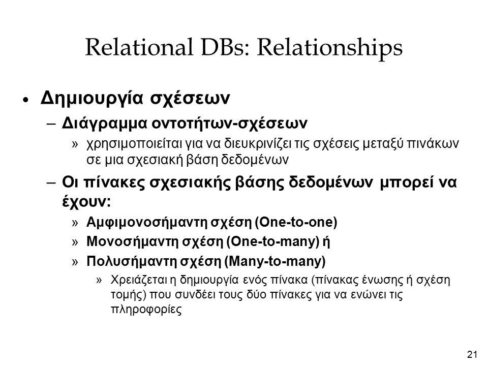 21 Relational DBs: Relationships  Δημιουργία σχέσεων –Διάγραμμα οντοτήτων-σχέσεων »χρησιμοποιείται για να διευκρινίζει τις σχέσεις μεταξύ πινάκων σε μια σχεσιακή βάση δεδομένων –Οι πίνακες σχεσιακής βάσης δεδομένων μπορεί να έχουν: »Αμφιμονοσήμαντη σχέση (One-to-one) »Μονοσήμαντη σχέση (One-to-many) ή »Πολυσήμαντη σχέση (Many-to-many) »Χρειάζεται η δημιουργία ενός πίνακα (πίνακας ένωσης ή σχέση τομής) που συνδέει τους δύο πίνακες για να ενώνει τις πληροφορίες