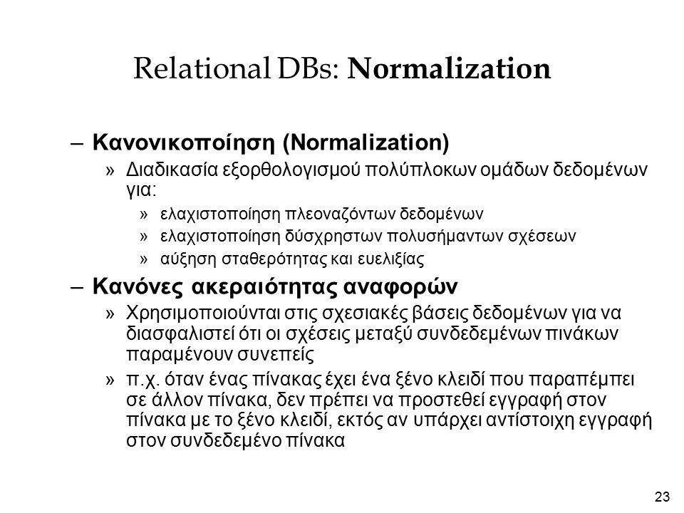 23 Relational DBs: Normalization –Κανονικοποίηση (Normalization) »Διαδικασία εξορθολογισμού πολύπλοκων ομάδων δεδομένων για: »ελαχιστοποίηση πλεοναζόντων δεδομένων »ελαχιστοποίηση δύσχρηστων πολυσήμαντων σχέσεων »αύξηση σταθερότητας και ευελιξίας –Κανόνες ακεραιότητας αναφορών »Χρησιμοποιούνται στις σχεσιακές βάσεις δεδομένων για να διασφαλιστεί ότι οι σχέσεις μεταξύ συνδεδεμένων πινάκων παραμένουν συνεπείς »π.χ.