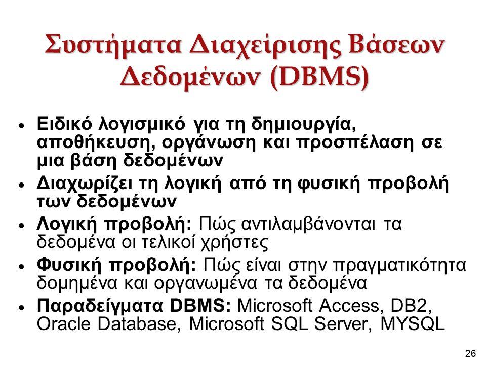 26 Συστήματα Διαχείρισης Βάσεων Δεδομένων (DBMS)  Ειδικό λογισμικό για τη δημιουργία, αποθήκευση, οργάνωση και προσπέλαση σε μια βάση δεδομένων  Διαχωρίζει τη λογική από τη φυσική προβολή των δεδομένων  Λογική προβολή: Πώς αντιλαμβάνονται τα δεδομένα οι τελικοί χρήστες  Φυσική προβολή: Πώς είναι στην πραγματικότητα δομημένα και οργανωμένα τα δεδομένα  Παραδείγματα DBMS: Microsoft Access, DB2, Oracle Database, Microsoft SQL Server, MYSQL