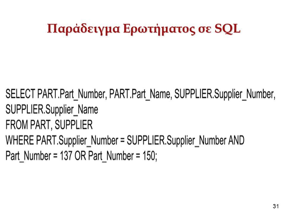 31 Παράδειγμα Ερωτήματος σε SQL