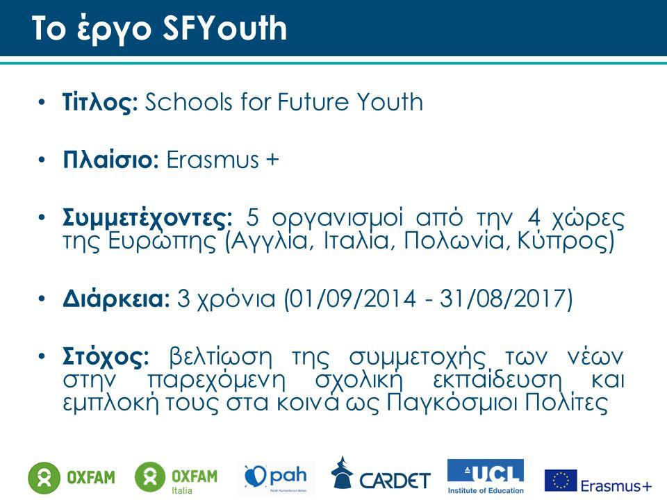 Το έργο SFYouth Τίτλος: Schools for Future Youth Πλαίσιο: Erasmus + Συμμετέχοντες: 5 οργανισμοί από την 4 χώρες της Ευρώπης (Αγγλία, Ιταλία, Πολωνία, Κύπρος) Διάρκεια: 3 χρόνια (01/09/2014 - 31/08/2017) Στόχος: βελτίωση της συμμετοχής των νέων στην παρεχόμενη σχολική εκπαίδευση και εμπλοκή τους στα κοινά ως Παγκόσμιοι Πολίτες