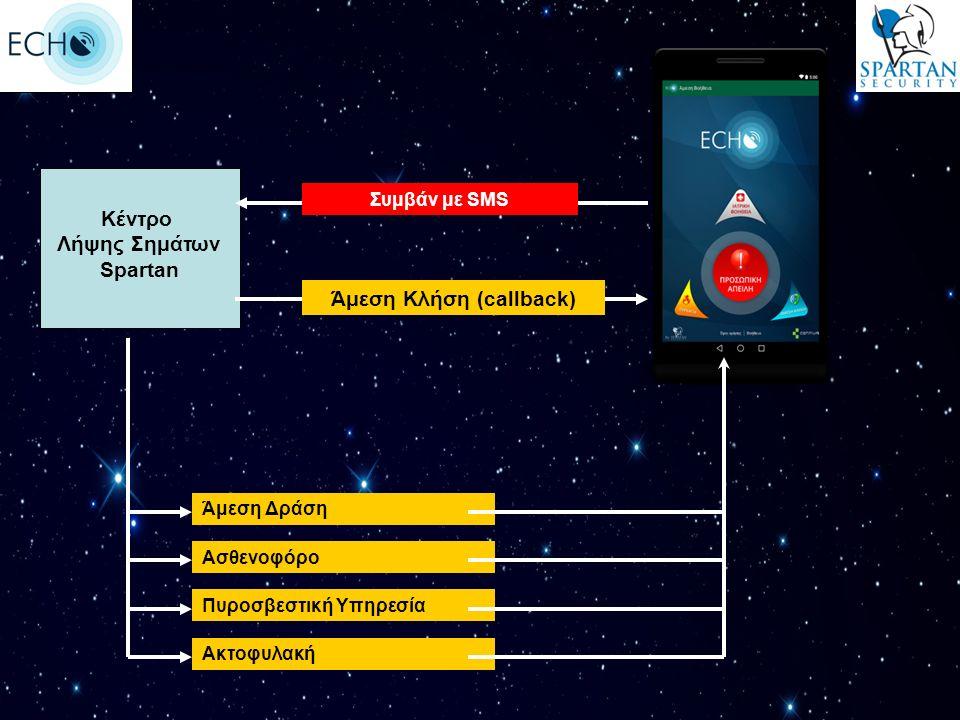 Άμεση Δράση Ασθενοφόρο Πυροσβεστική Υπηρεσία Ακτοφυλακή Άμεση Κλήση (callback) Συμβάν με SMS Κέντρο Λήψης Σημάτων Spartan