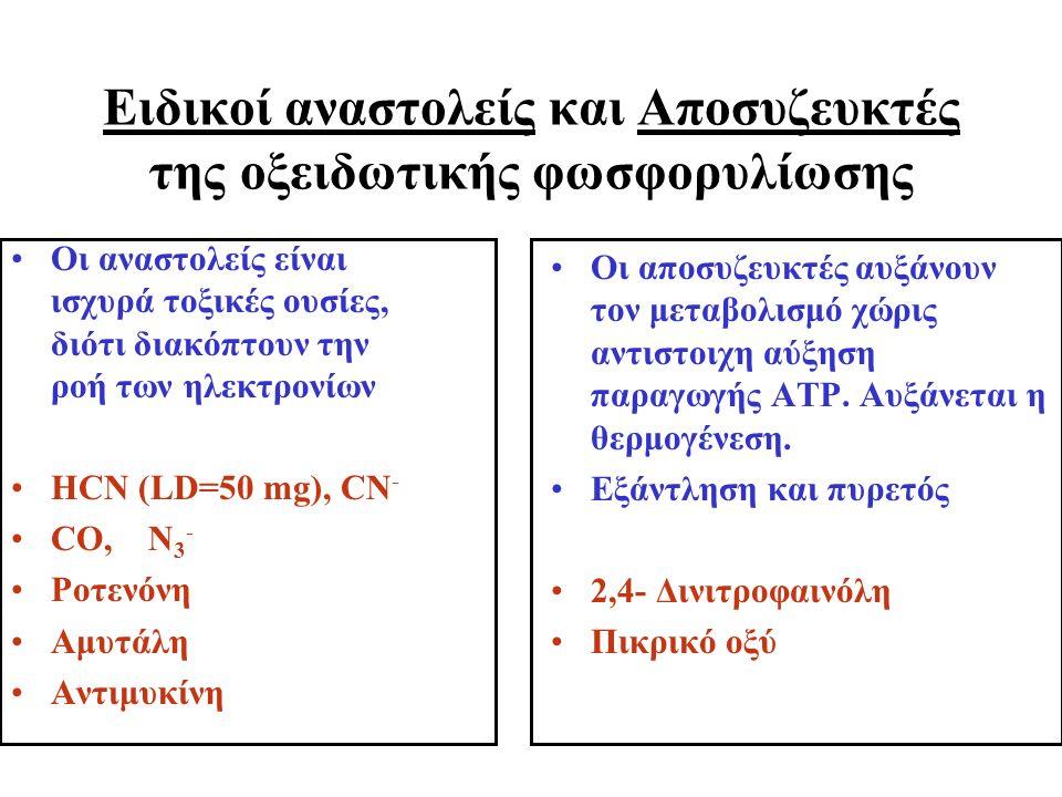 Ειδικοί αναστολείς και Αποσυζευκτές της οξειδωτικής φωσφορυλίωσης Οι αναστολείς είναι ισχυρά τοξικές ουσίες, διότι διακόπτουν την ροή των ηλεκτρονίων ΗCN (LD=50 mg), CN - CO, N 3 - Ροτενόνη Αμυτάλη Αντιμυκίνη Οι αποσυζευκτές αυξάνουν τον μεταβολισμό χώρις αντιστοιχη αύξηση παραγωγής ΑΤΡ.