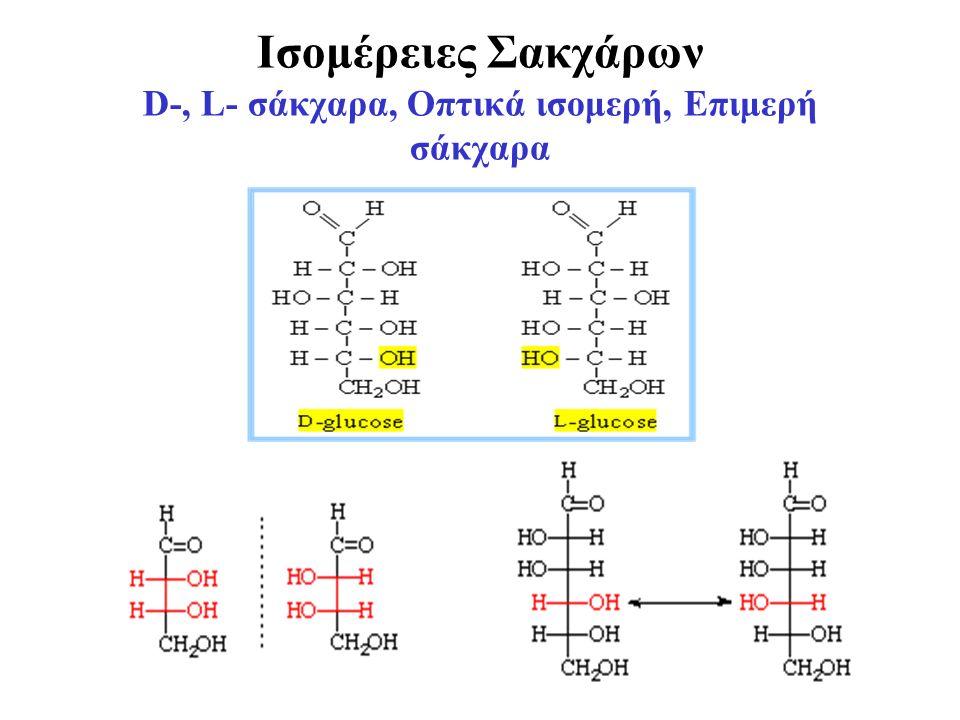 Ισομέρειες Σακχάρων D-, L- σάκχαρα, Οπτικά ισομερή, Επιμερή σάκχαρα